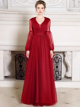 Elegant A-Line V-Neck Long Sleeves Pleats Sashes Long Evening Dress & vintage style Evening Dresses