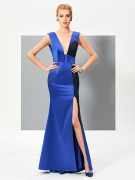 Unique Sheath V-Neck Beading Split-Front Floor-Length Evening Dress & fairytale Evening Dresses