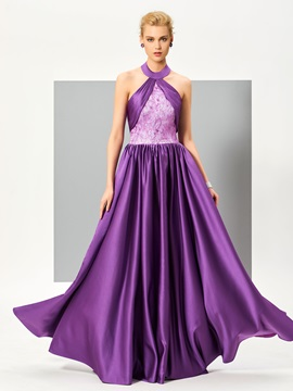 Fancy A-Line Halter Ruched Lace Floor-Length Evening Dress & Evening Dresses for less