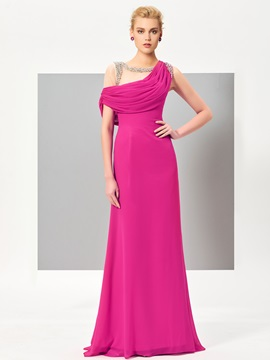 Unique A-Line Cowl Beading Draped Sweep Train Evening Dress & vintage style Evening Dresses