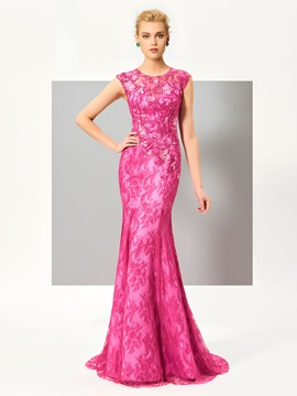 Stylish Jewel Mermaid Cap Sleeves Appliques Lace Sweep Train Evening Dress