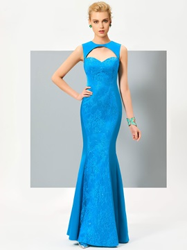 Stylish Scoop Mermaid Hollow Lace Floor-Length Evening Dress & Evening Dresses for sale