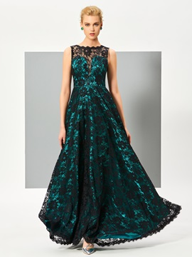 Elegant Bateau A-Line Lace Floor-Length Evening Dress