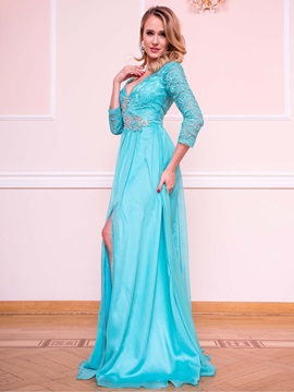 Charming A-Line V-Neck 3/4 Length Sleeves Beading Lace Split-Front Evening Dress & Evening Dresses under 300