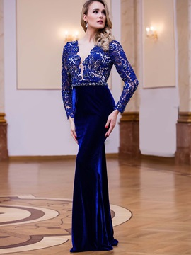 Velvet Sheath V-Neck Long Sleeves Lace Beading Sashes Floor-Length Evening Dress & quality Evening Dresses