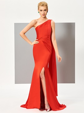 Simple One-Shoulder Ruched Split-Front Sweep Train Evening Dress & colorful Evening Dresses