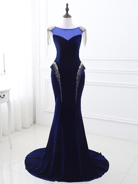 Gorgeous Bateau A-Line Beading Tassel Sweep Train Evening Dress & quality Evening Dresses