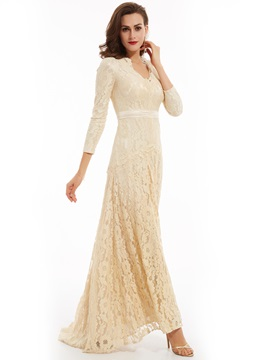 V Neck Long Sleeves Lace Long Evening Dress & colored Evening Dresses