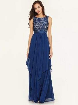 Scoop Neck Sleeveless Zipper-Up Ankle-Length Evening Dress & Evening Dresses online