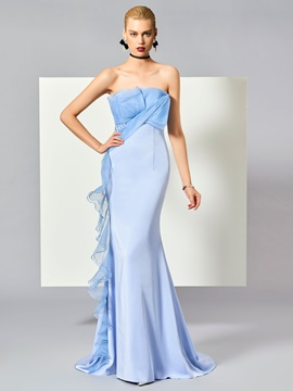 Unique Strapless Sheath Ruffles Sweep Train Evening Dress