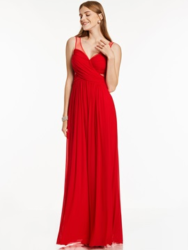 V Neck Sleeveless Zipper-Up Long Evening Dress