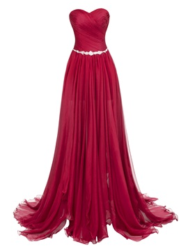 Sweetheart Zipper-Up Split-Front Floor-Length Evening Dress & romantic Evening Dresses