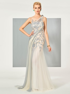 Elegant Scoop A-Line Appliques Sleeveless Floor-Length Evening Dress & vintage style Evening Dresses