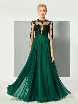 Elegant Jewel Neck A-Line Appliques Button Long Sleeves Floor-Length Evening Dress & Evening Dresses from china