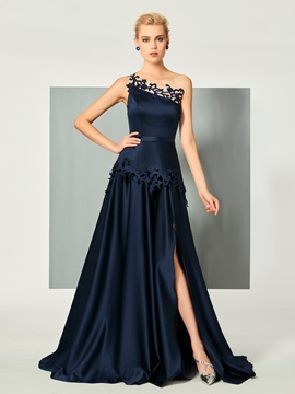 Exquisite One-Shoulder A-Line Appliques Sashes Sweep Train Evening Dress & Evening Dresses on sale