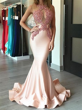 Fancy Trumpet Appliques Scoop Beaded Sweep Train Evening Dress & romantic Evening Dresses