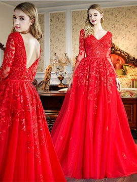 Gorgeous Long Sleeves Appliques A-Line Beading V-Neck Lace Sweep Train Evening Dress & vintage style Evening Dresses