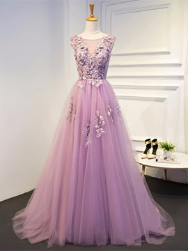 Charming Short Sleeves A-Line Appliques Scoop Pearls Floor-Length Evening Dress & fairy Evening Dresses