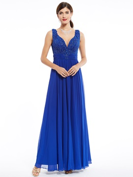 Elegant Straps Zipper-Up Beaded Appliques A Line Evening Dress
