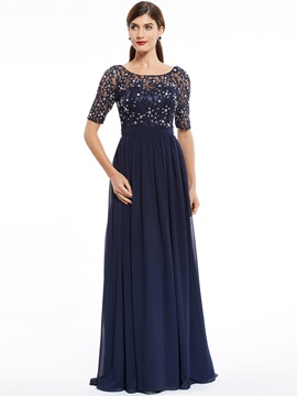 Scoop Neck Half Sleeves Beaded A Line Evening Dress & Evening Dresses online