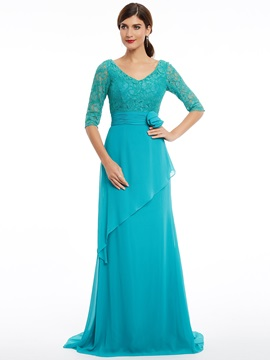 V Neck Half Sleeves A Line Sweep Train Evening Dress & Evening Dresses from china