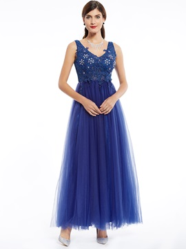 V Neck Beaded Appliques A Line Evening Dress & colorful Evening Dresses