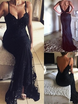 Sheath Appliques Spaghetti Straps Sequins Evening Dress