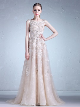 Gorgeous A-Line Appliques Bateau Beading Lace Watteau Train Evening Dress