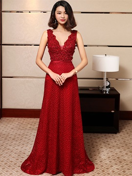 Stylish A-Line Appliques V-Neck Beading Lace Sashes Floor-Length Evening Dress & colorful Evening Dresses