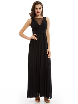 Elegant Scoop Neck Zipper-Up Pearls A Line Evening Dress & petite Evening Dresses