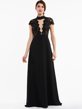 Unique High Neck Zipper-Up Beaded A Line Evening Dress