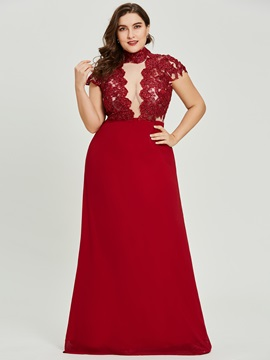 Unique High Neck Zipper-Up Beaded A Line Evening Dress & cheap Evening Dresses