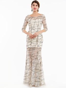 Bateau Neck Button Half Sleeves Sequins Evening Dress