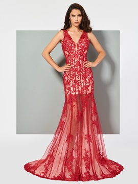 Elegant Trumpet V-Neck Lace Sleeveless Floor-Length Evening Dress & fairytale Evening Dresses