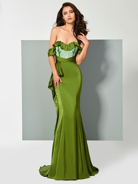 Elegant Off-the-Shoulder Appliques Ruffles Mermaid Brush Train Evening Dress & amazing Evening Dresses