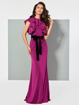 Unique Trumpet Short Sleeves Bowknot Ruffles Sashes Scoop FLoor-Length Evening Dress & cheap Evening Dresses