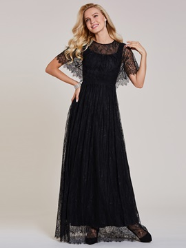 Scoop Neck Zipper-Up Lace A Line Evening Dress