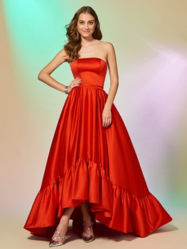 Elegant Strapless Ruched Sleeveless A-Line Asymmetry Evening Dress & Evening Dresses for less