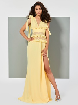 Unique A-Line Split-Front Ruffles V-Neck Court Train Evening Dress