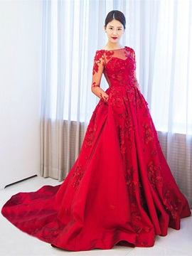 Attractive Long Sleeves A-Line Appliques Off-the-Shoulder Appliques Court Train Evening Dress & attractive Evening Dresses