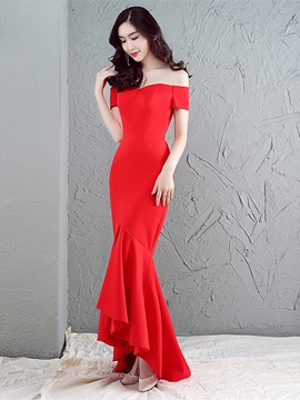 Elegant Mermaid Off-the-Shoulder Ruffles Sweep Train Evening Dress & unusual Evening Dresses