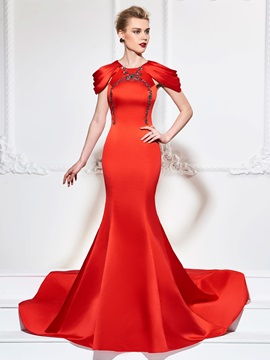 Scoop Trumpet Appliques Beadings Evening Dress