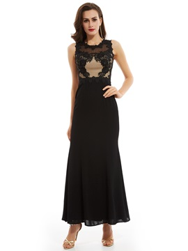 Elegant Appliques Scoop Neck Zipper-Up A Line Evening Dress & fairytale Evening Dresses