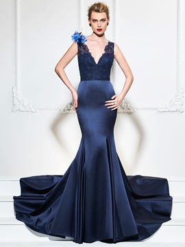 Attractive V-Neck Beaded Mermaid Lace Flowers Court Train Evening Dress & Evening Dresses 2012