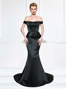 Simple Ruffles Off-the-Shoulder Trumpet Sweep Train Evening Dress & inexpensive Evening Dresses