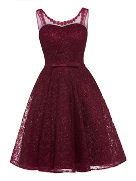 V Neck Lace-Up Lace A Line Homecoming Dress & informal Evening Dresses