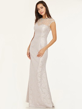 Scoop Neck Zipper-Up Beaded Lace Sheath Evening Dress