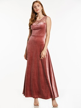 V Neck Sleeveless Velvet Beaded A Line Evening Dress