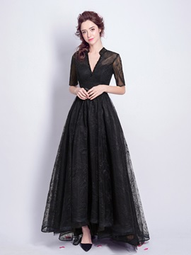 Elegant Beaded Lace A-Line V-Neck Half Sleeves Floor-Length Evening Dress & modest Evening Dresses