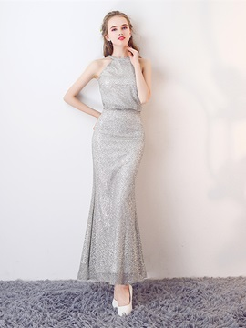 Attractive Halter A-Line Ankle Length Finished Fabric Evening Dress